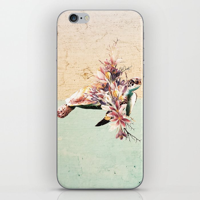 Turtle and bouquet iPhone Skin