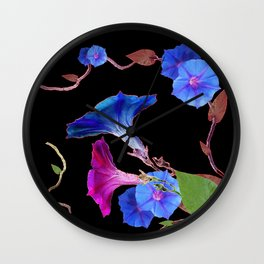 Black  Color Blue Morning Glory Art Design Pattern Wall Clock