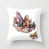 crystal Throw Pillows featuring Crystal by Kat Nova