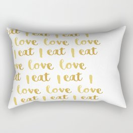 I love eat Golden Version pattern 2 Rectangular Pillow