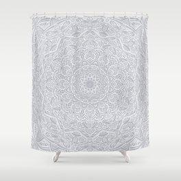 Most Detailed Mandala! Cool Gray White Color Intricate Detail Ethnic Mandalas Zentangle Maze Pattern Shower Curtain