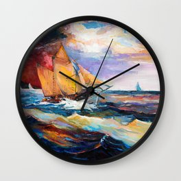 Fishing boats in the sea at sunset Wall Clock