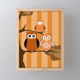 Orange Owls Framed Mini Art Print