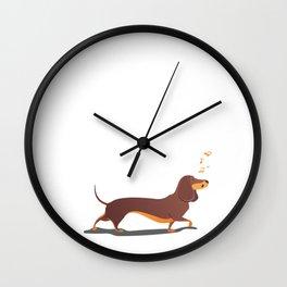 Funny dog sings song. Wall Clock