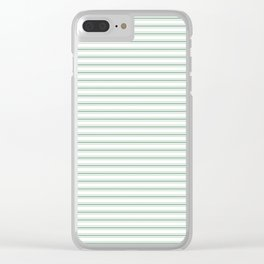 Mattress Ticking Narrow Horizontal Striped Pattern in Moss Green and White Clear iPhone Case