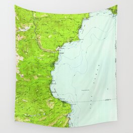 Vintage Map of Tahoe California (1955) Wall Tapestry