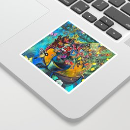 Flowers in Blue Landscape Sticker