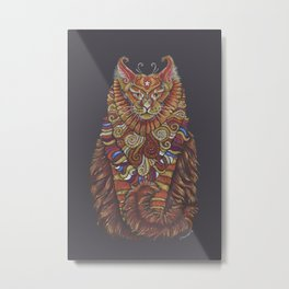 Maine Coon Cat Totem Metal Print