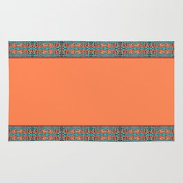 Abstract Waves - Peach and Aqua Rug