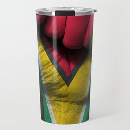 Guyanese Flag on a Raised Clenched Fist Travel Mug