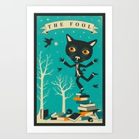 tarot Art Prints featuring TAROT CARD CAT: THE FOOL by Jazzberry Blue