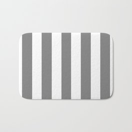 Gray (HTML/CSS gray) - solid color - white vertical lines pattern Bath Mat