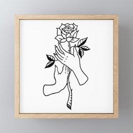 Hands Holding Rose Design — Hands & Rose Stem Illustration Framed Mini Art Print