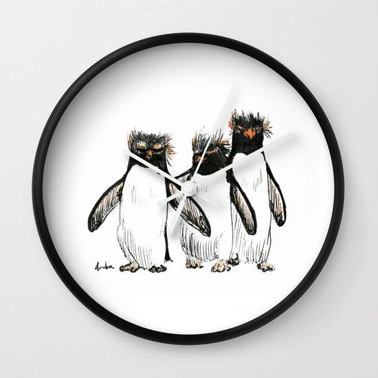 Macaroni Penguin Gang Wall Clock By Palindrome Society6