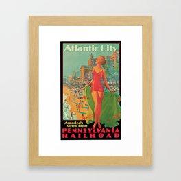 Atlantic city vintage bathing beauty Framed Art Print