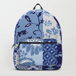 Blue and White Patchwork Squares Backpack