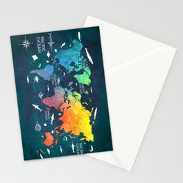Ocean World Map color #map #worldmap Stationery Cards