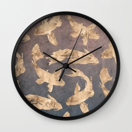 Koi at dusk - scratched leather Wall Clock
