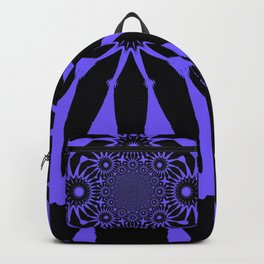 The Modern Flower Black and Periwinkle Purple Backpack
