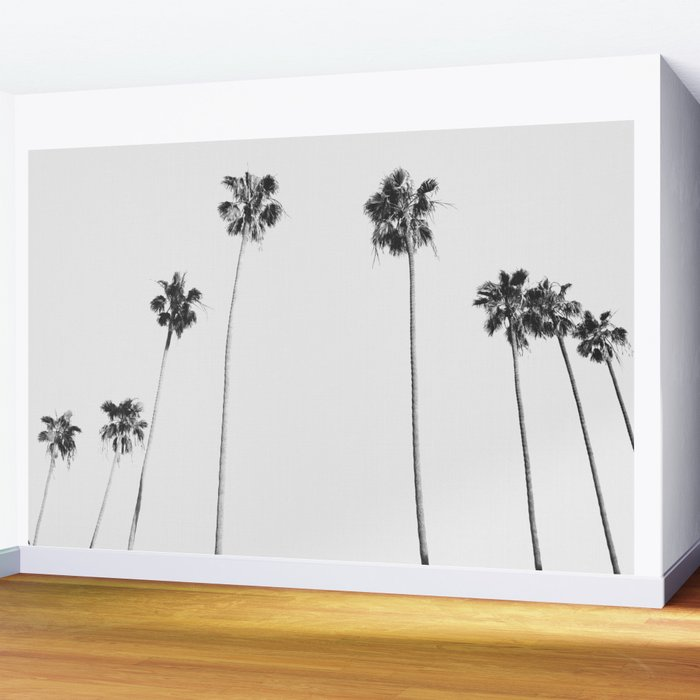 Black & White Palms Wall Mural