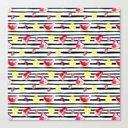Hand painted black pink yellow watercolor summer fruit pattern Canvas Print