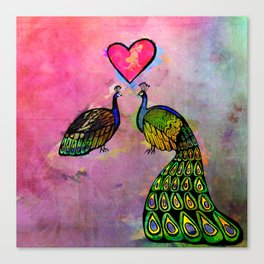 Love Birds Fine Art Print, Peacocks, Pink Canvas Print