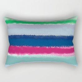 Bluish Blues 2 - Blues, Aqua, Greens, and Pinks, Stripes on White Rectangular Pillow