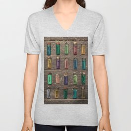 Grid of found Beach Lighters from Cambodia Unisex V-Neck
