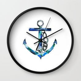blue green anchor watercolor Wall Clock