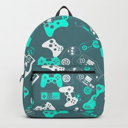 Video Games light blue on grey Backpack