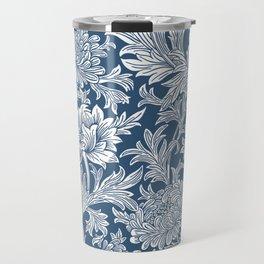 William Morris Navy Blue Chrysanthemum Floral Pattern Travel Mug