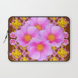 Chocolate Brown Pink Wild Roses Pattern Art Laptop Sleeve