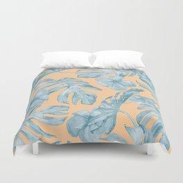 Island Sunrise Hibiscus Palm Orange Ocean Blue Duvet Cover