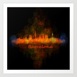 Barcelona City Skyline Hq _v4 Art Print