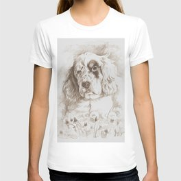 English Setter puppy Monochrome sgraffito T-shirt