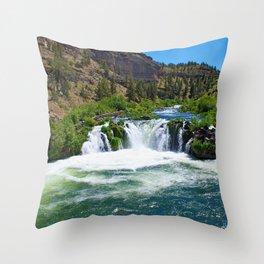 Photo USA Steelhead Falls Nature Mountains Waterfa Throw Pillow