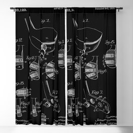 Golf Club Blueprint Patent Blackout Curtain