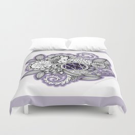 Pretty in Purple Zentangle Design Illustration Duvet Cover