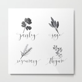 Parsley, Sage, Rosemary and Thyme Metal Print
