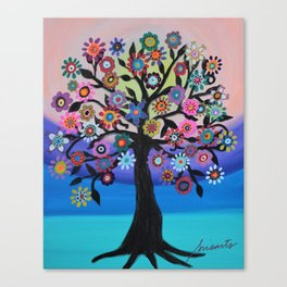 Whimsical Blooming Love Tree of Life Painting Canvas Print