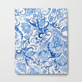 Bohemian Blue Paisley Floral Pattern Metal Print