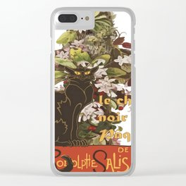 Easter Le Chat Noir de Paques With Floral Cross Clear iPhone Case