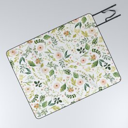 Botanical Spring Flowers Picnic Blanket