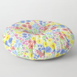 Floral watercolor pattern white Floor Pillow
