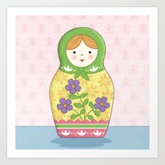 Matryoshka Doll (green & yellow) Art Print