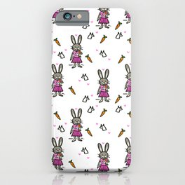 Unicorn rabbit eating a carrot with love iPhone Case