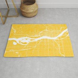 Yellow City Map of Portland, Oregon Rug