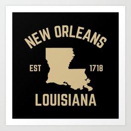 New Orleans Louisiana Map Established 1718 NOLA Art Print