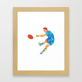 Rugby Player Kicking Ball Low Polygon Framed Art Print