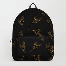 Golden flowers on black Backpack